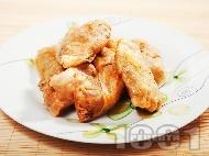 Рецепта Малки постни зелеви сарми от кисело зеле с ориз, лук и моркови на фурна